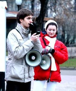 Сергей Аксёнов и Алиса Анцелевич.  Парк Горького.  24 ноября 2012 г. Проект Книги в парках