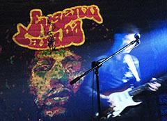 Графическое изображение Джими Хендрикса на заднике сцены
